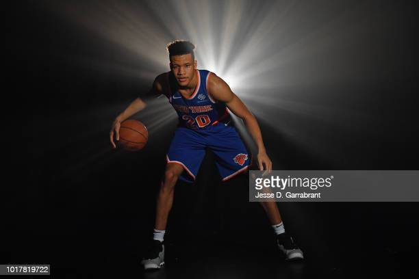 Kevin Knox of the New York Knicks poses for a portrait during the 2018 NBA Rookie Photo Shoot on August 12 2018 at the Madison Square Garden Training...