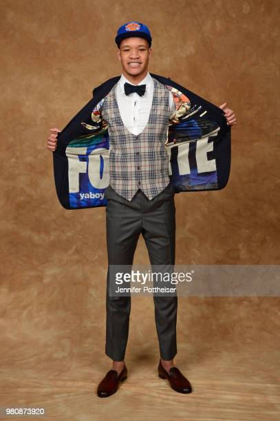 Kevin Knox poses for a portrait after being drafted by the New York Knicks during the 2018 NBA Draft on June 21 2018 at Barclays Center in Brooklyn...