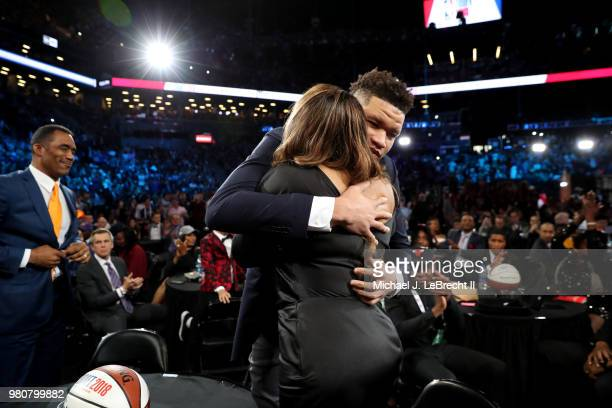 Kevin Knox reacts after being selected number nine overall by the New York Knicks on June 21 2018 at Barclays Center during the 2018 NBA Draft in...