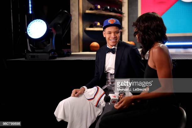Kevin Knox talks to the media after being selected number nine overall by the New York Knicks on June 21 2018 at Barclays Center during the 2018 NBA...