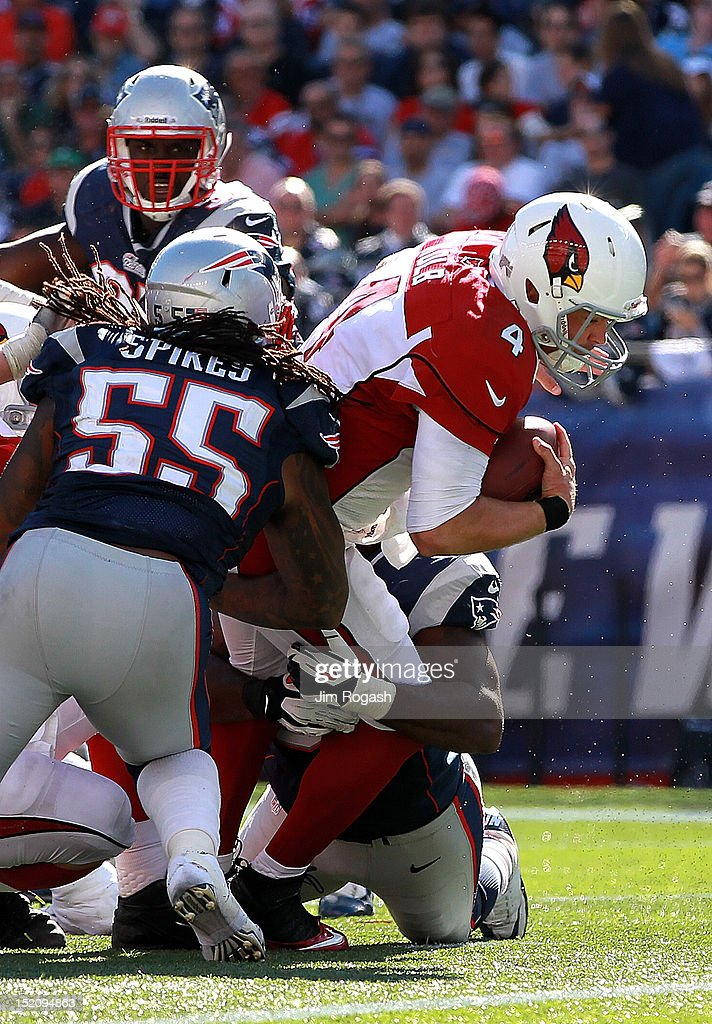 Kevin Kolb #4 of the Arizona Cardinals runs the ball for a touchdown in the fourth quarter against the New England Patriots at Gillette Stadium on September 16, 2012 in Foxboro, Massachusetts.
