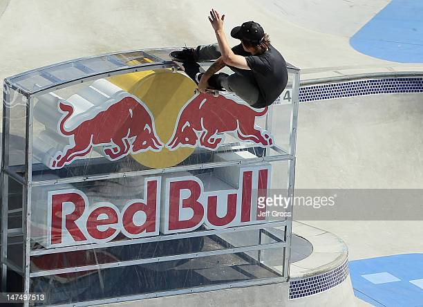 Kevin Kowalski competes in the men's Skateboard Park final during day three of X Games 18 at LA LIVE on June 30 2012 in Los Angeles California