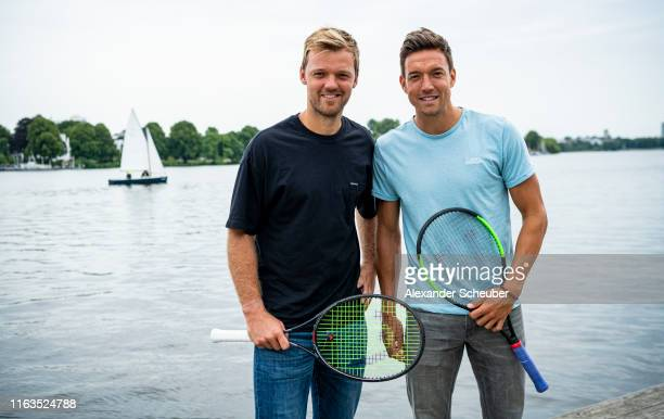 Kevin Krawietz and Andreas Mies are attending a photo call at AlsterCliff during the Hamburg Open 2019 at Rothenbaum on July 22 2019 in Hamburg...