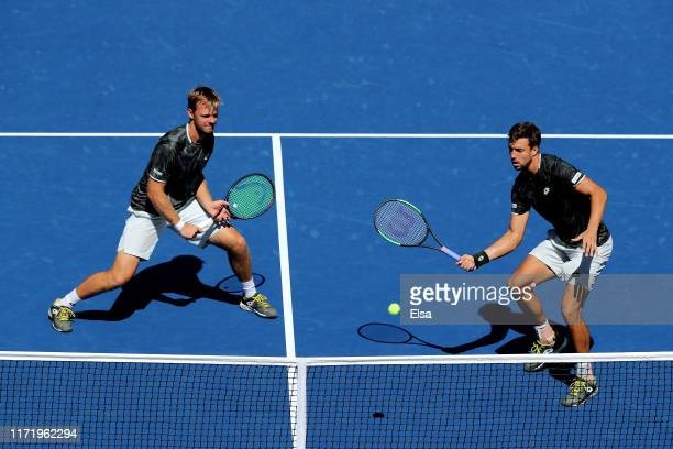 Kevin Krawietz and Andreas Mies of Germany in action during their Men's Doubles quarterfinal match against Leonardo Mayer of Argentina and Joao Sousa...