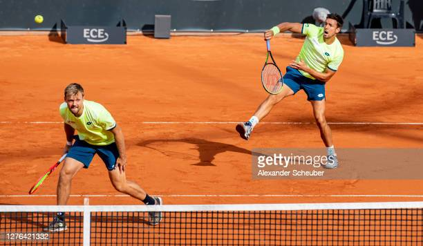 Kevin Krawietz and Andreas Mies of Germany perform during the Men's Double quarter final of the Hamburg Open 2020 at Rothenbaum on September 24, 2020...