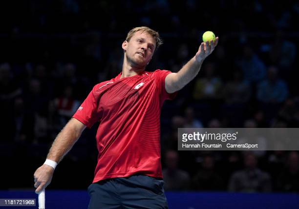 Kevin Krawietz in action with his doubles partner Andreas Mies against JeanJulien Rojer and Horia Tecau during Day Two of the Nitto ATP Finals at The...