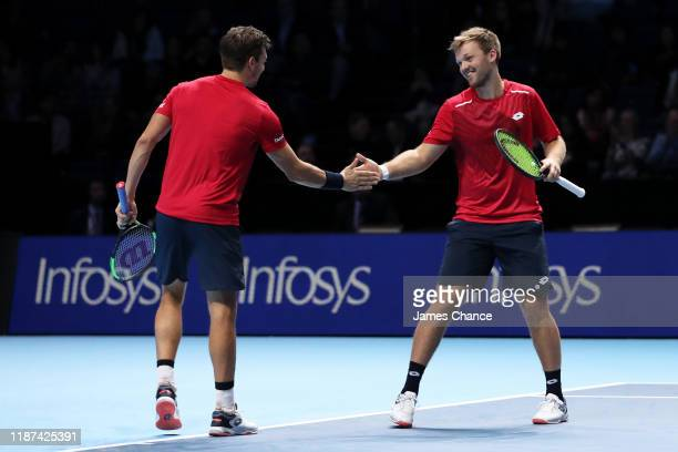 Kevin Krawietz of Germany and Andreas Mies of Germany celebrate in their doubles match against Nicolas Mahut and PierreHugues Herbert of France...