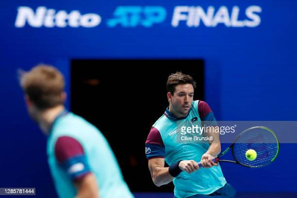 Kevin Krawietz of Germany and Andreas Mies of Germany in action during their doubles match against Wesley Koolhof of The Netherlands and Nikola...