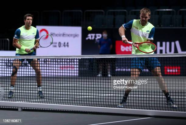 Kevin Krawietz of Germany and Andreas Mies of Germany play during the double final match between Kevin Krawietz of Germany and Andreas Mies of...