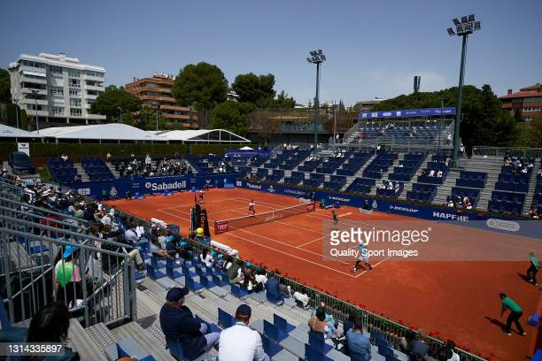Kevin Krawietz of Germany and Horia Tecau of Romania play in the Men's doubles final match against Juan Sebastián Cabal of Colombia and Robert Farah...