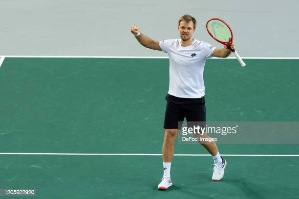 Kevin Krawietz of Germany celebrate after winning the second day of the Davis Cup qualifier between Germany and Belarus at Castello on March 7 2020...