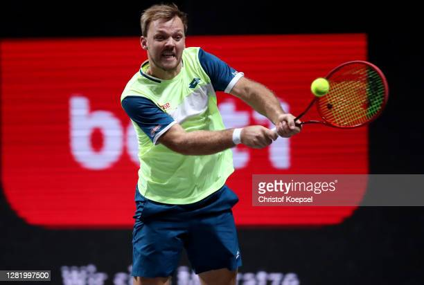 Kevin Krawietz of Germany plays a backhand during the double semi final match between Marcus Daniell of New Zealand and Philipp Oswald of Austria and...