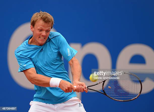 Kevin Krawietz of Germany plays a backhand shot during his qualification match against JanLennard Struff of Germany during the BMW Open on April 27...