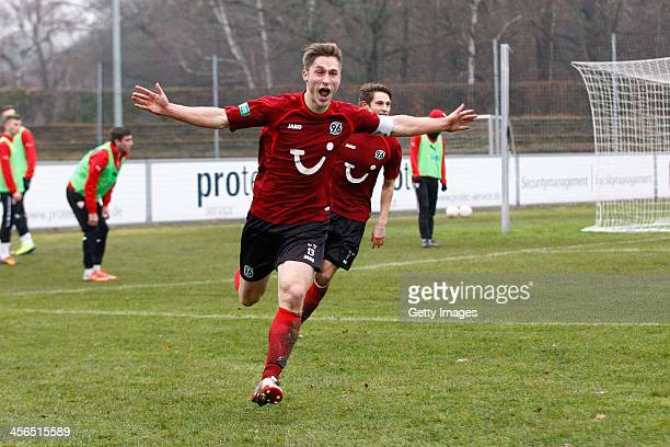 Kevin Krottke of Hannover celebrates during the DFB A Juniors Cup match between Hannover 96 and VfB Stuttgart at Eilenriedestadion on December 14...