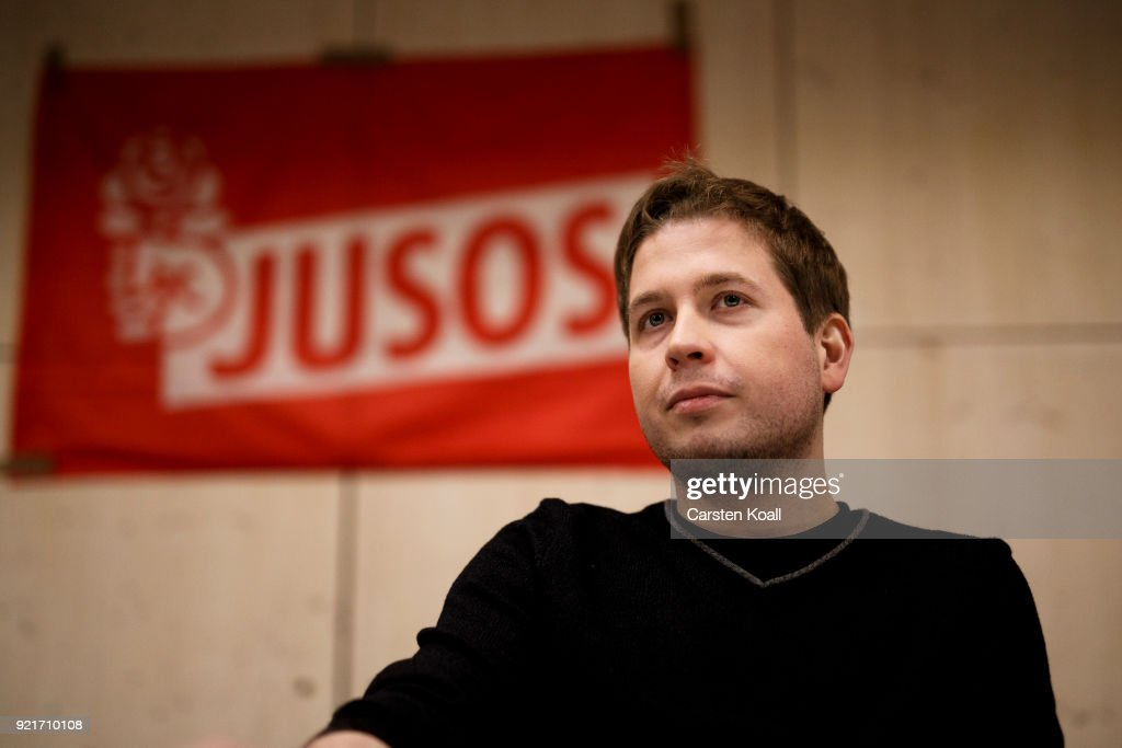 Kevin Kuehnert, head of Jusos, the youth group of the German Social Democrats (SPD), attends a multi-city campaign tour to convince SPD members to vote against joining a new goverment coalition on February 20, 2018 in Berlin, Germany. Kuehnert is arguing the SPD has made too many compromises in the coalition negotiations and should instead let the CDU/CSU go it alone in a minority government. All SPD members starting today to vote in coming weeks by mail on whether to approve the coalition.