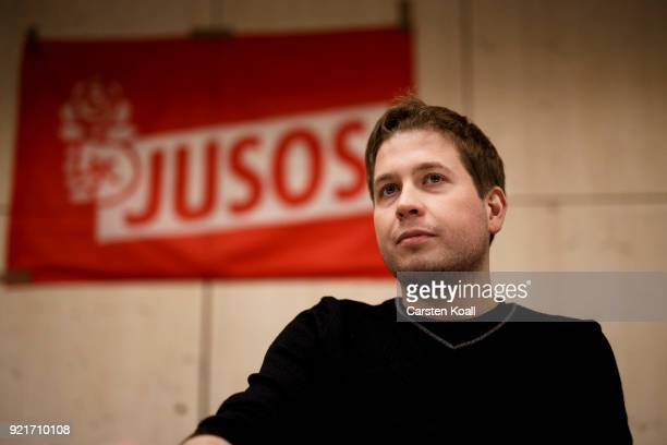Kevin Kuehnert head of Jusos the youth group of the German Social Democrats attends a multicity campaign tour to convince SPD members to vote against...