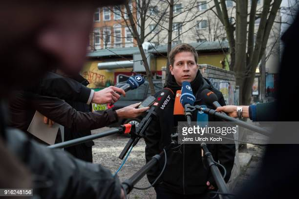 Kevin Kuehnert head of Jusos the youth group of the German Social Democrats speaks to journalists at the launch of a multicity campaign tour to...