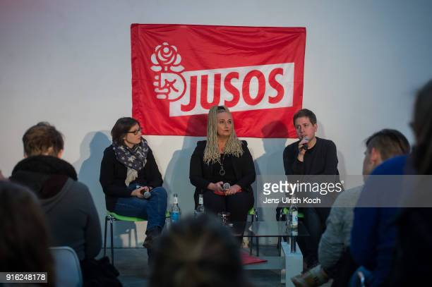 Kevin Kuehnert head of Jusos the youth group of the German Social Democrats sits at the podium at at the launch of a multicity campaign tour to...