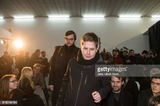 Kevin Kuehnert head of Jusos the youth group of the German Social Democrats walks to the launch of a multicity campaign tour to convince SPD members...