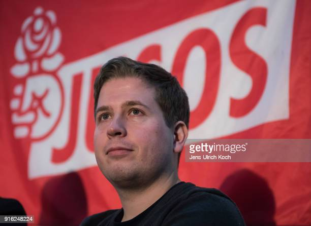 Kevin Kuehnert head of Jusos the youth group of the German Social Democrats speaks at the launch of a multicity campaign tour to convince SPD members...