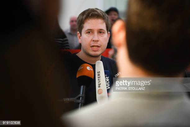 Kevin Kuehnert head of Jusos the youth group of the German Social Democrats speaks to the media during a panel discussion event of a multicity...