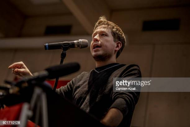 Kevin Kuehnert head of Jusos the youth group of the German Social Democrats speaks during a multicity campaign tour to convince SPD members to vote...