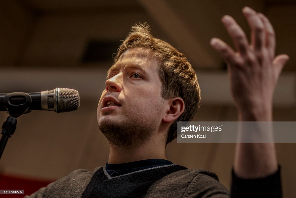 Kevin Kuehnert, head of Jusos, the youth group of the German Social Democrats (SPD), speaks during a multi-city campaign tour to convince SPD members to vote against joining a new goverment coalition on February 20, 2018 in Berlin, Germany. Kuehnert is arguing the SPD has made too many compromises in the coalition negotiations and should instead let the CDU/CSU go it alone in a minority government. All SPD members starting today to vote in coming weeks by mail on whether to approve the coalition.