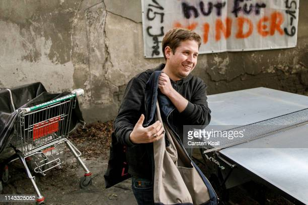 Kevin Kuehnert head of the JuSos the youth wing of the German Social Democrats visits a courtyard party in an apartment building whose residents fear...