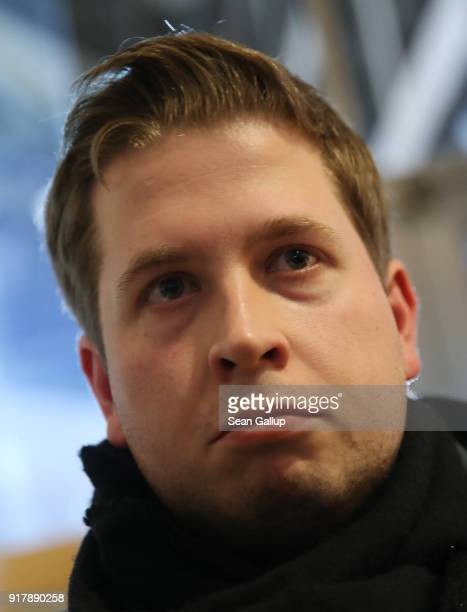 Kevin Kuehnert head of the Jusos youth arm of the German Social Democrats speaks to journalists following the resignation of party leader Martin...