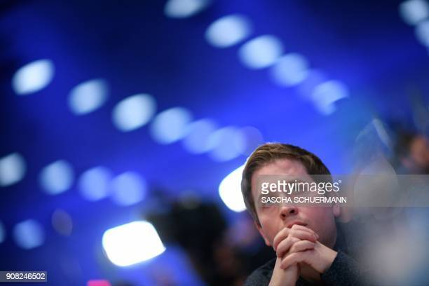 Kevin Kuehnert leader of Germany's social democratic SPD party's youth organisation 'Jusos' and opponent of the 'GroKo' as the grand coalition...