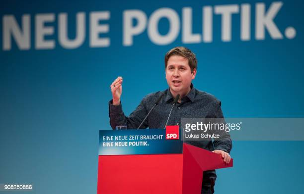 Kevin Kuehnert leader of Germany's social democratic SPD party's youth organisation 'Jusos' speaks to delegates at the SPD federal congress on...