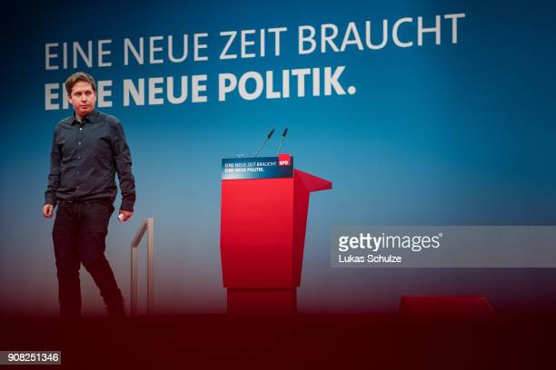 Kevin Kuehnert leader of Germany's social democratic SPD party's youth organisation 'Jusos' leaves the stage at the SPD federal congress on January...