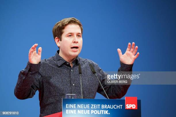 Kevin Kuehnert leader of Germany's social democratic SPD party's youth organisation Jusos and opponent of the GroKo as the grand coalition between...