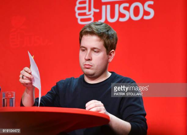 Kevin Kuehnert leader of the Juso youth organistation of Germany's social democrat SPD party gives a talk as he woos SPD members for a No to the...