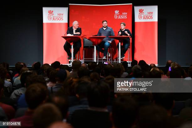 Kevin Kuehnert leader of the Juso youth organistation of Germany's social democrat SPD party speaks during panel discussion as he woos SPD members...