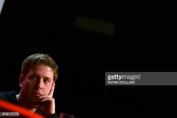 Kevin Kuehnert leader of the Juso youth organistation of Germany's social democrat SPD party looks on during a panel discussion as he woos SPD...