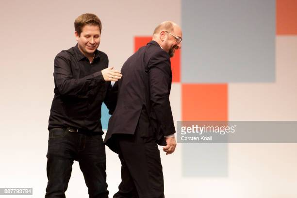Kevin Kuehnert leader of the youth organisation of the Social Democrats congrats Martin Schulz leader of the German Social Democrats after the voting...