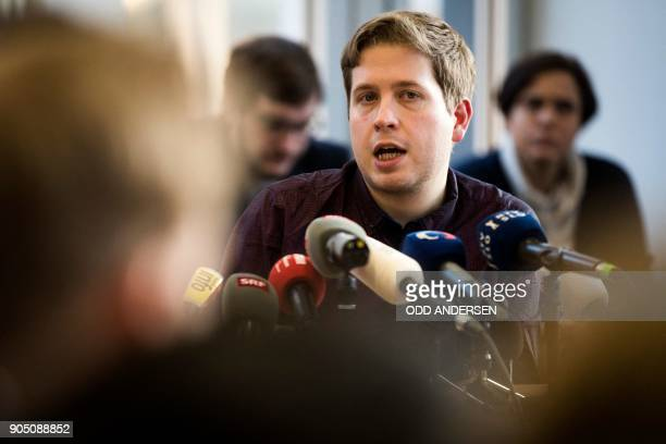 Kevin Kuehnert the leader of the Juso youth wing of Germany's social democrat SPD party speaks during a press conference on January 15 2018 in Berlin...