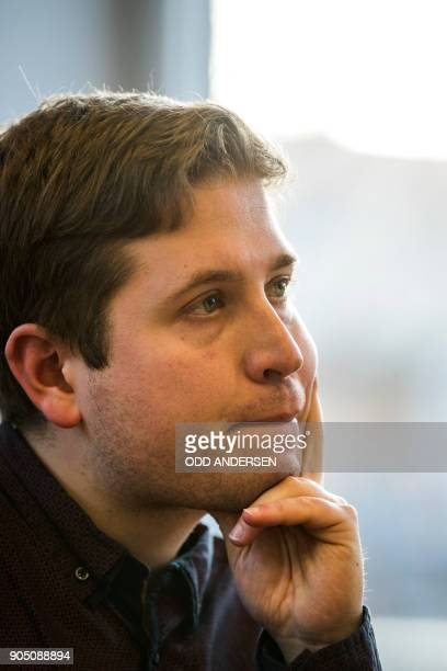 Kevin Kuehnert the leader of the Juso youth wing of Germany's social democrat SPD party looks on during a press conference on January 15 2018 in...