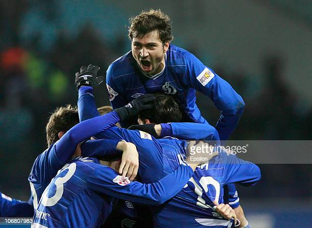 Kevin Kuranyi Adrian Ropotan and Vladimir Granat of FC Dinamo Moscow celebrate after scoring a goal during the Russian Football League Championship...