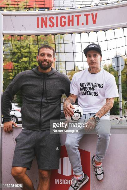 """Kevin Kuranyi and Edward van Gils pose for a picture during the launch event for Insight TV's new show """"Streetkings in Jail"""" on September 17, 2019 in..."""