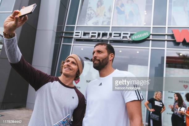 """Kevin Kuranyi and guest take a selfie during the launch event for Insight TV's new show """"Streetkings in Jail"""" on September 17, 2019 in Munich,..."""