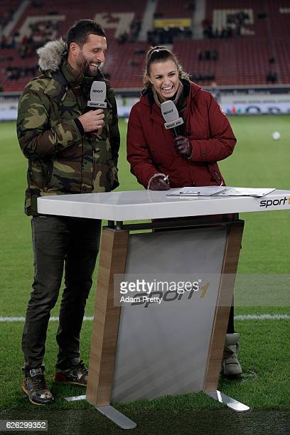 Kevin Kuranyi and Sport1 TV host Laura Wontorra chat prior to the Second Bundesliga match between VfB Stuttgart and 1 FC Nuernberg at MercedesBenz...