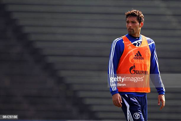 Kevin Kuranyi looks on during a FC Schalke 04 training session on April 13 2010 in Gelsenkirchen Germany