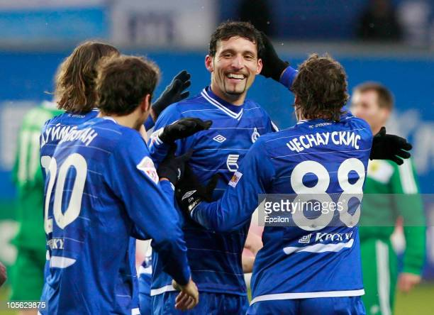 Kevin Kuranyi of FC Dynamo Moscow celebrates after scoring a goal during the Russian Football League Championship match between FC Dynamo Moscow and...