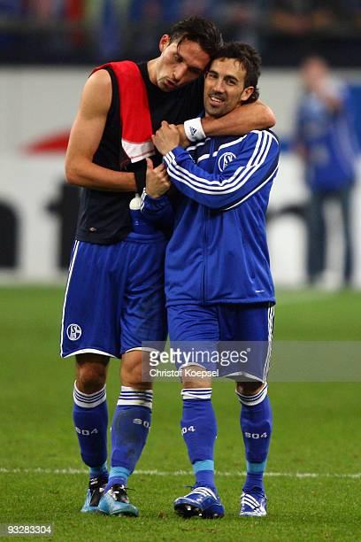 Kevin Kuranyi of Schalke and Vicente Sanchez of Schalke celebrate the 20 victory after the Bundesliga match between FC Schalke 04 and Hannover 96 at...