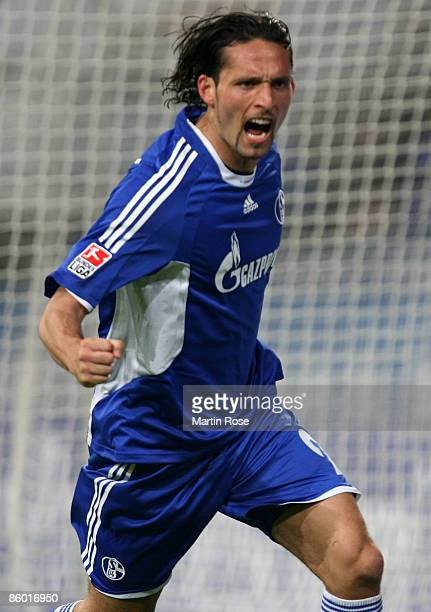 Kevin Kuranyi of Schalke celebrates after scoring his teams 4th goal during the Bundesliga match between FC Schalke 04 and Energie Cottbus at the...