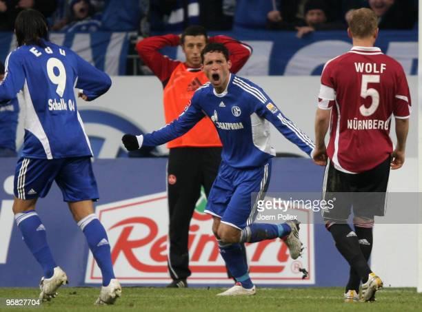 Kevin Kuranyi of Schalke celebrates after scoring his team's first goal during the Bundesliga match between FC Schalke 04 and 1 FC Nuernberg at...