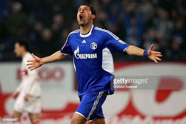 Kevin Kuranyi of Schalke celebrates his team's second goal during the Bundesliga match between FC Schalke 04 and VfB Stuttgart at the Veltins Arena...
