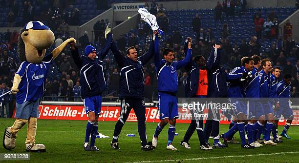 Kevin Kuranyi of Schalke celebrates with his team mates after winning the Bundesliga match between FC Schalke 04 and 1899 Hoffenheim at Veltins Arena...